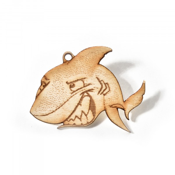 Schlüsselanhänger: Holz Hai