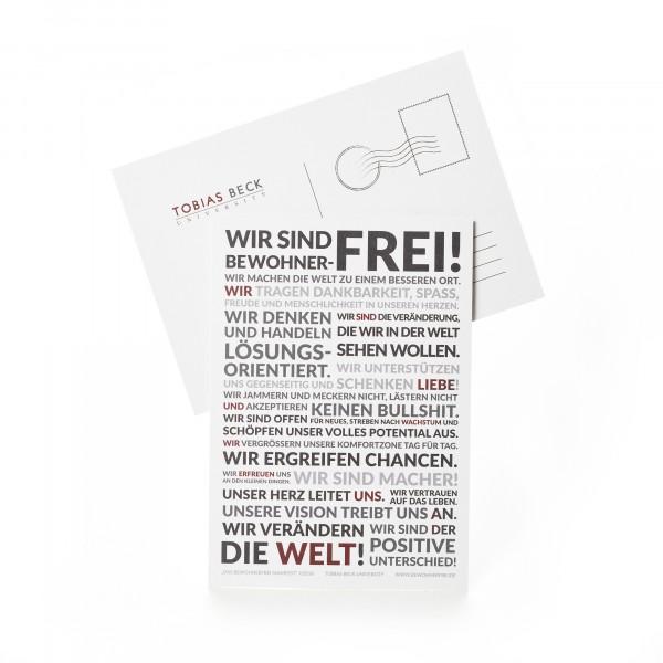Postkarte A6: Wir sind Bewohner -Frei